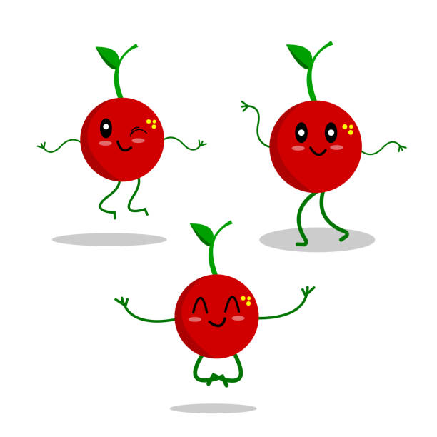 ripe cherries set of cartoon characters posing and active vector art illustration