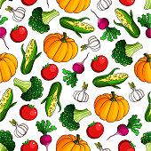 Ripe, fresh vegetables seamless pattern background