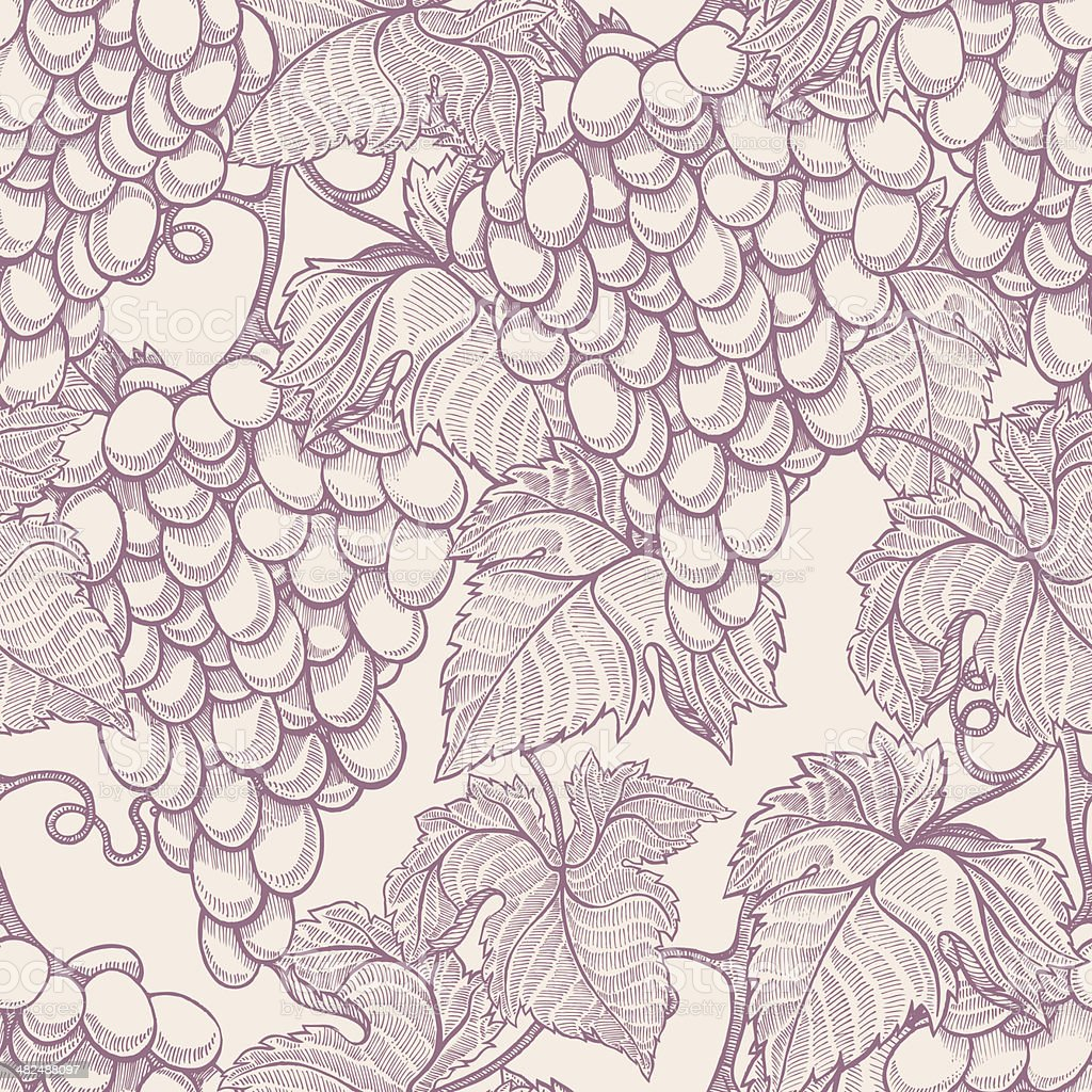 beautiful natural seamless vintage background with hand-drawn bunches...