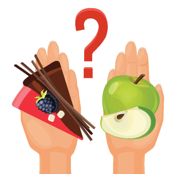 Ripe green apple and delicious cake in human hands vector art illustration