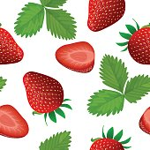 Ripe juicy Strawberry isolated on white. Whole, slice and leaf. Close up. seamless pattern vector. for food design, cooking, cosmetics, health care, ointments, perfumery, label wrapping decoration