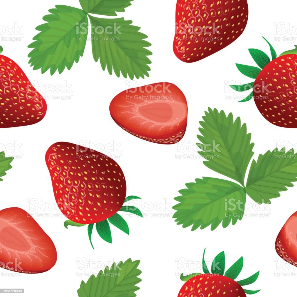 Ripe juicy Strawberry with leaf isolated seamless pattern vector . Whole and slice vector art illustration