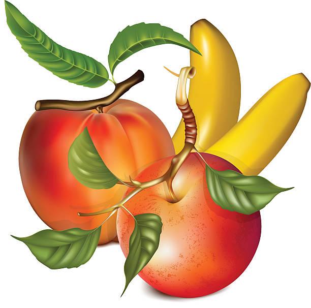 reife pfirsich, apfel und banane. - nektarinenmarmelade stock-grafiken, -clipart, -cartoons und -symbole
