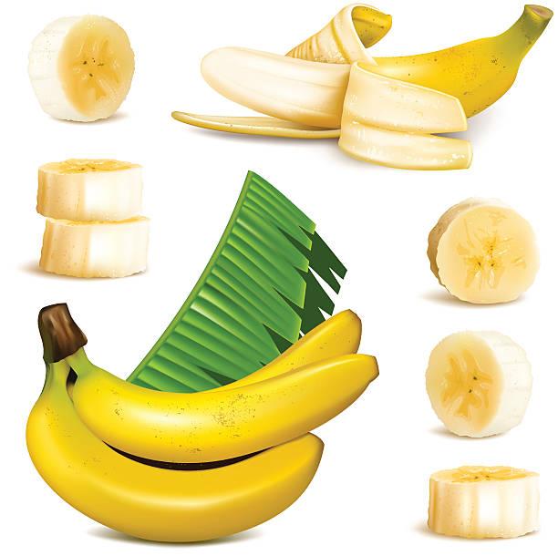 illustrazioni stock, clip art, cartoni animati e icone di tendenza di maturo giallo banana - banana
