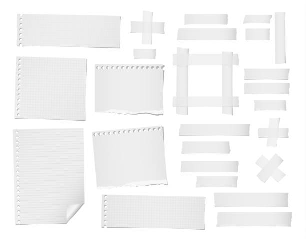 Ripped lined, squared, note, notebook paper sheets and masking, adhesive tape for text or message stuck on white background. Ripped lined, squared, note, notebook paper sheets and masking, adhesive tape for text or message stuck on white background masking tape stock illustrations
