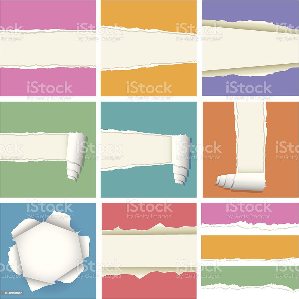 Ripped Paper Collection royalty-free stock vector art