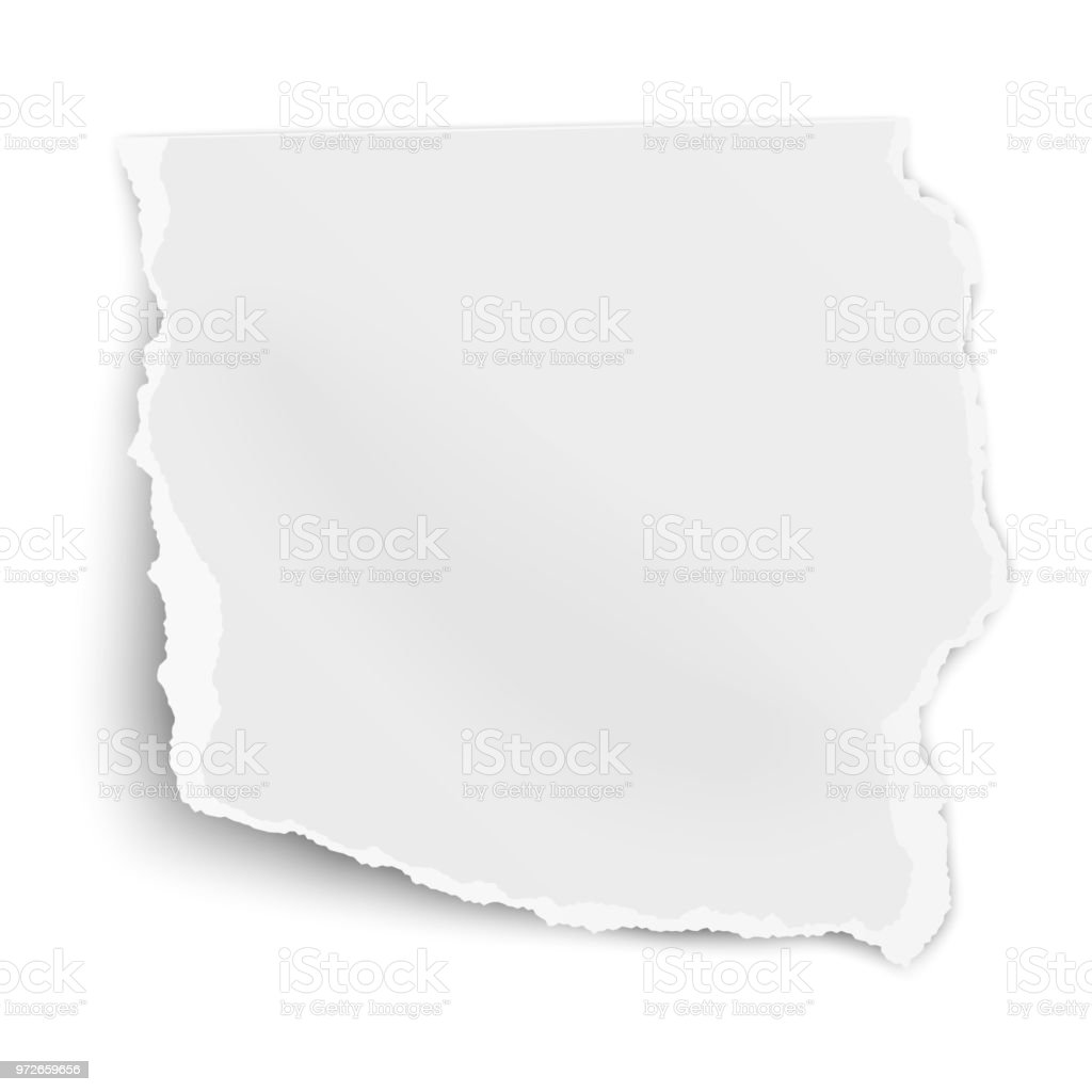 Ripped paper fragment with soft shadow isolated on white background. Vector template paper design. vector art illustration