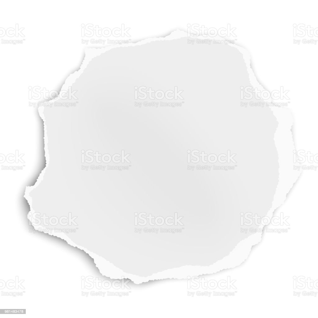 Ripped paper tear rounded shape isolated on white background. Vector template paper design. vector art illustration