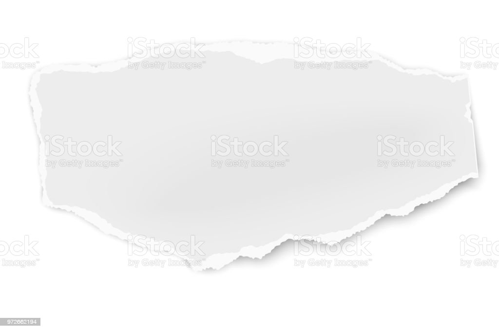 Ripped paper tear with soft shadow isolated on white background. Vector template paper design. vector art illustration