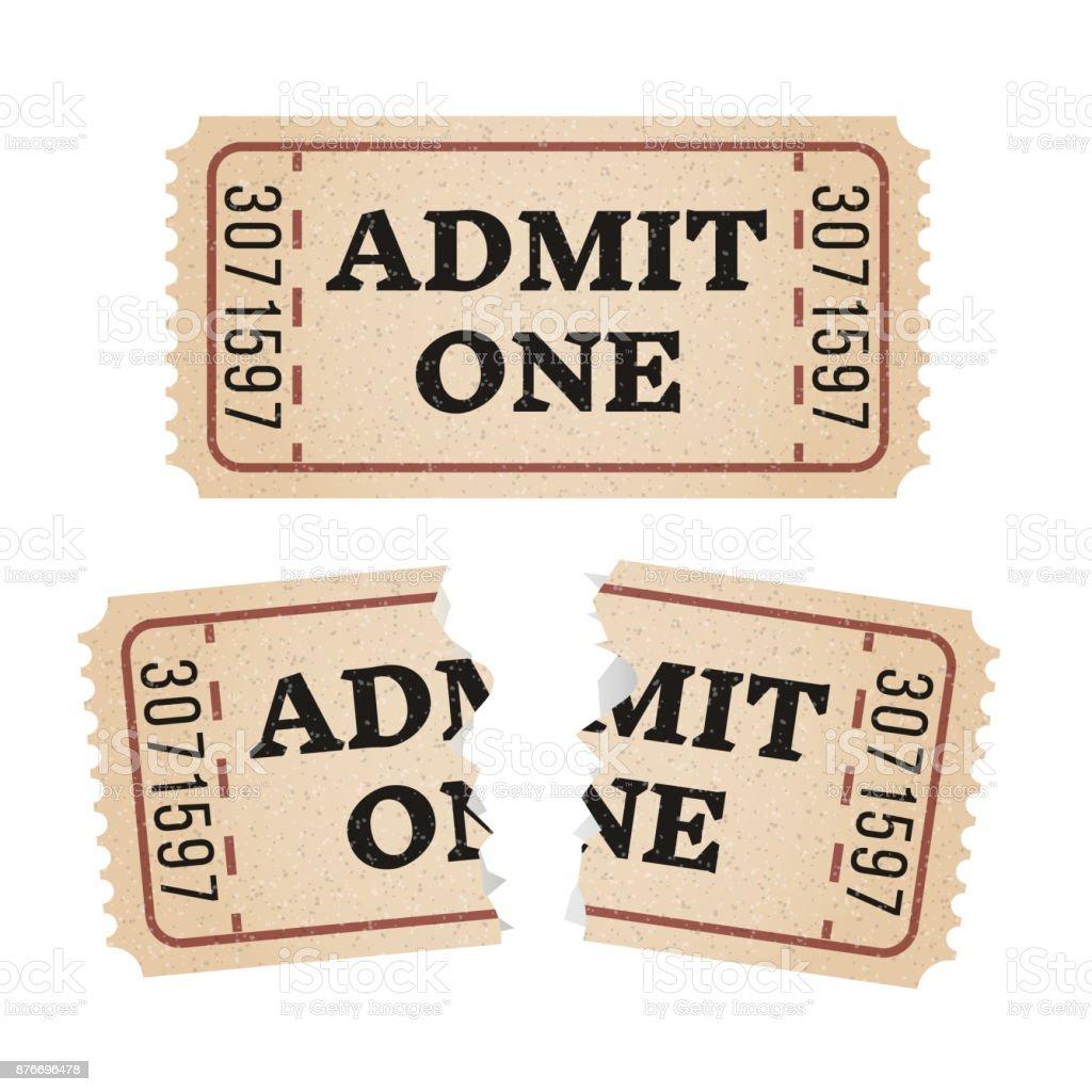 Vintagepapier Ticket Stub Gerissen Stock Vektor Art und mehr Bilder ...