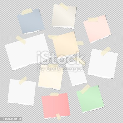 istock Ripped white , colorful note, notebook, copybook strips stuck with sticky tape on light gray background 1199044519