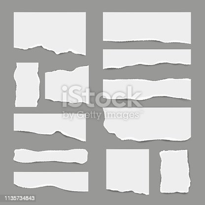 Ripped white paper. Torn light scrap note paper for notes pieces vector realistic pictures for banners. Illustration of torn paper, ripped page