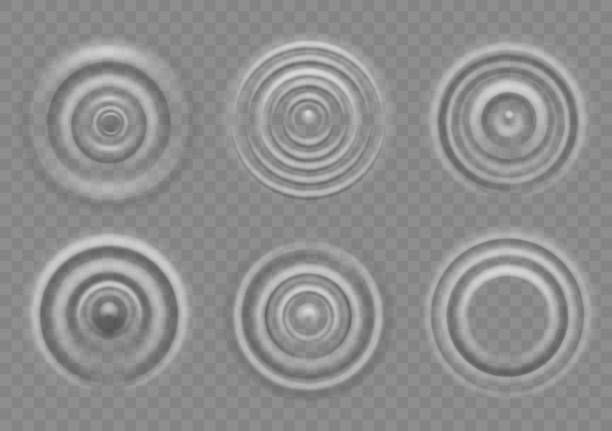 Ripple on water surface. Splash water impact top view, circle water ripples, liquid swirl effect with circular waves vector texture Ripple on water surface. Splash water impact top view, circle water ripples, liquid swirl effect with circular waves vector motion of drops texture rippled stock illustrations