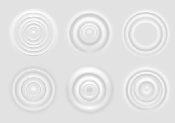 Ripple on white surface. Dairy product circular waves top view, milk splash from falling drop, round radial ripples on surface vector texture Ripple on white surface. Dairy product circular waves top view, milk splash from falling drop, round radial ripples on surface vector concentric rings texture rippled stock illustrations