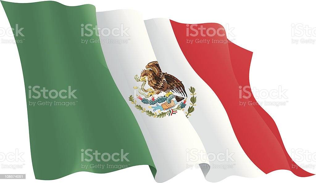 Rippling flag of Mexico against white background royalty-free stock vector art