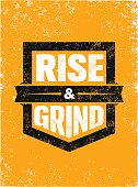 istock Rise And Grind. Workout and Fitness Sport Motivation Quote. Creative Vector Typography Strong Banner Concept 649836984