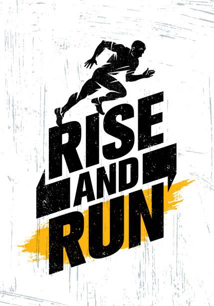 ilustrações de stock, clip art, desenhos animados e ícones de rise and run. marathon sport event motivation quote poster concept. active lifestyle typography illustration - running