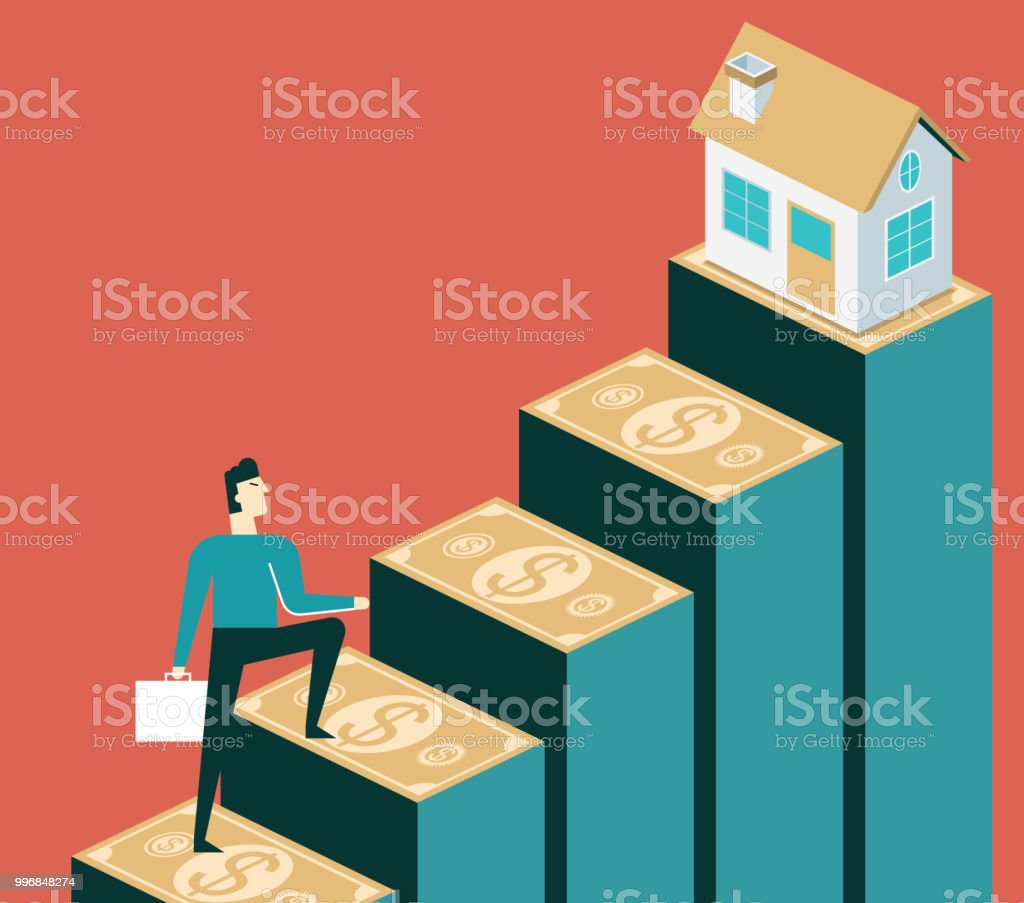 Rise in house prices - Businessman vector art illustration