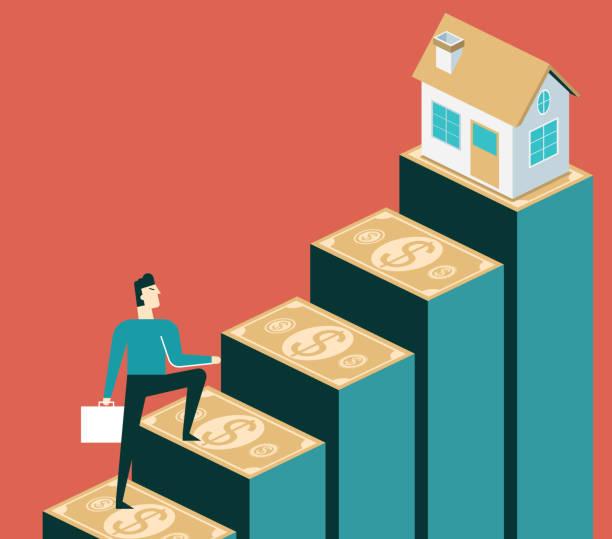 bildbanksillustrationer, clip art samt tecknat material och ikoner med stiga i bostadspriserna - affärsman - husägande