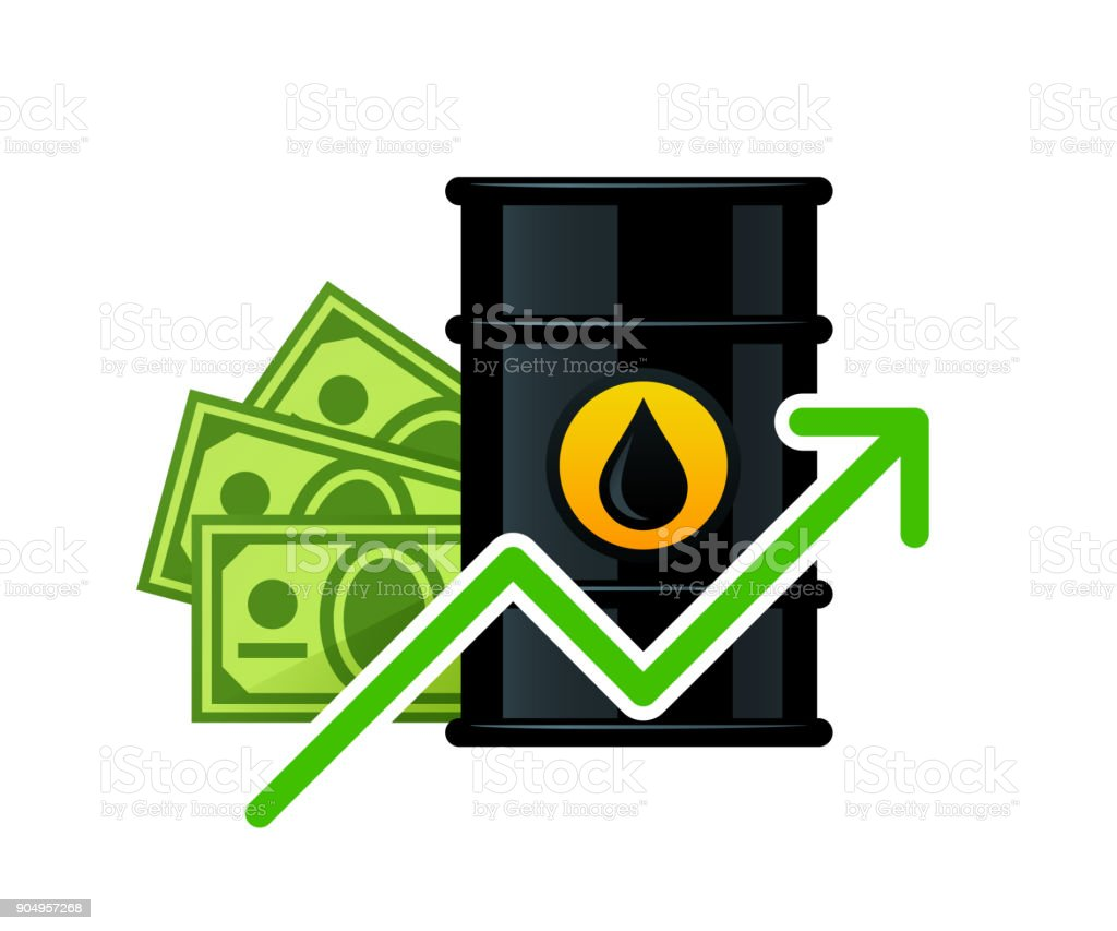 Rise in the price of barrel oil vector art illustration