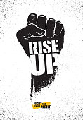 Rise Up. Fight For Your Right Motivation Poster Illustration Concept. Rough Vector Fist Illustration Design