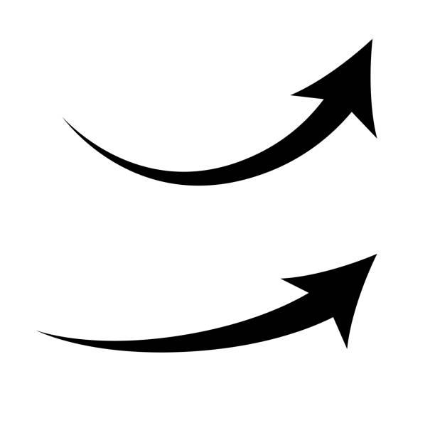Rising curve arrow icon set Rising curve arrow icon set curve stock illustrations