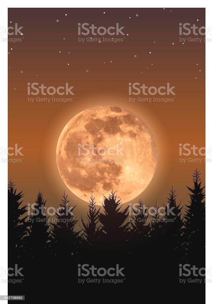 Rising full moon vector art illustration