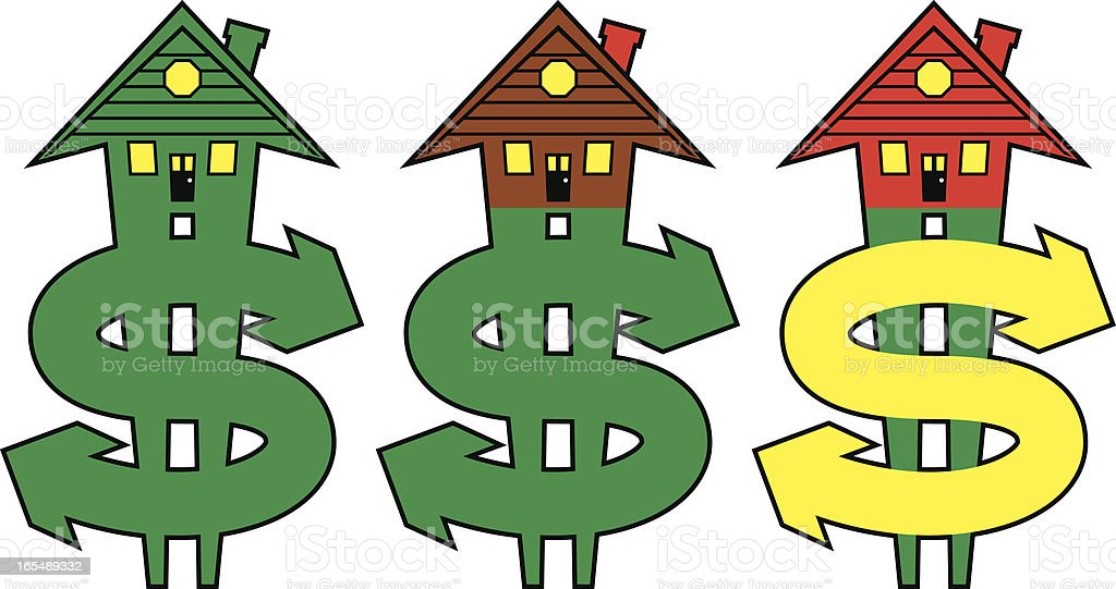 Rising Home Costs Vector: Roofs Forming Arrows on Dollar Signs royalty-free rising home costs vector roofs forming arrows on dollar signs stock vector art & more images of arrow symbol
