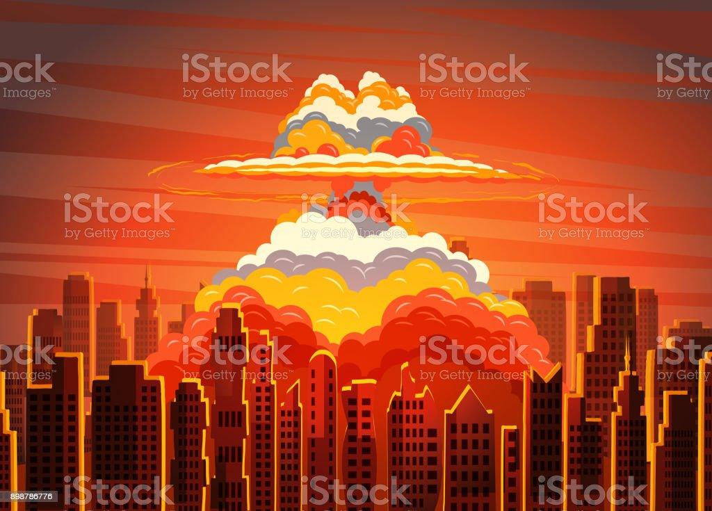 Nube radiactiva de seta brillante de levantamiento en la ciudad de - arte vectorial de Apocalipsis libre de derechos
