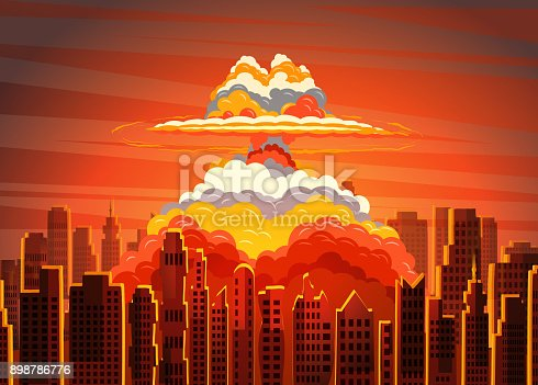 Rising radioactive heated bright yellow mushroom cloud on big city, Nuclear explosion. Vector illustration