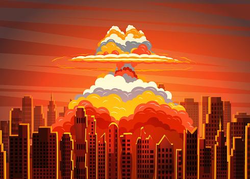 Ilustración de Nube Radiactiva De Seta Brillante De Levantamiento En La Ciudad De y más Vectores Libres de Derechos de Apocalipsis