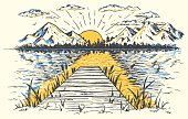 Rising sun on the lake, landscape with a bridge. Hand-drawn vintage illustration. Sketch in retro style