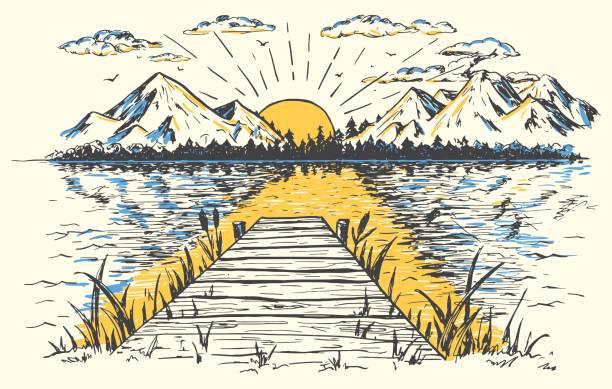 ilustraciones, imágenes clip art, dibujos animados e iconos de stock de sol naciente en el dibujo de paisaje de lago - lago
