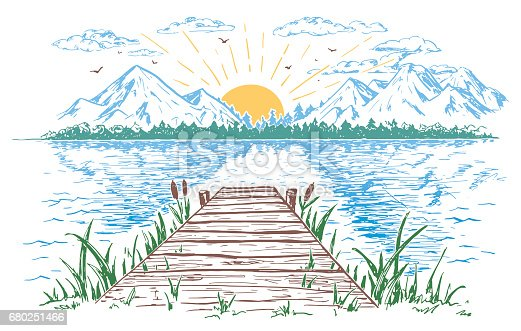 Rising sun on the lake, landscape with a bridge. Hand-drawn vintage illustration. Sketch in the open air isolated on white background