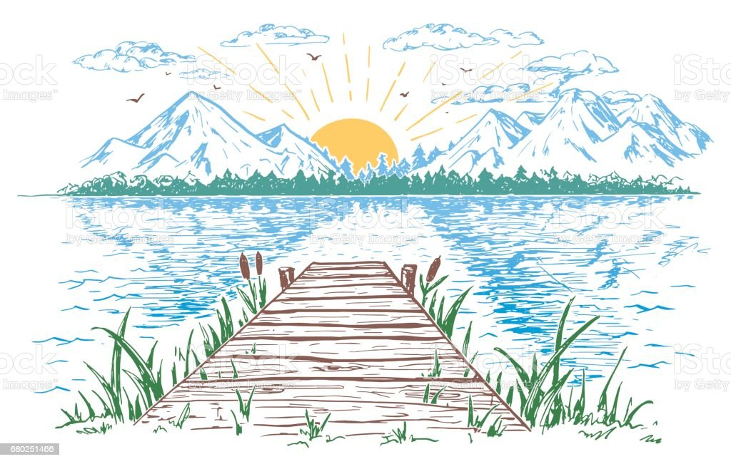 Rising sun on the lake landscape illustration vector art illustration