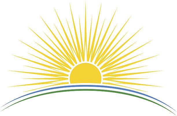 illustrations, cliparts, dessins animés et icônes de soleil levant sur la planète arc illustration vectorielle - lever du soleil