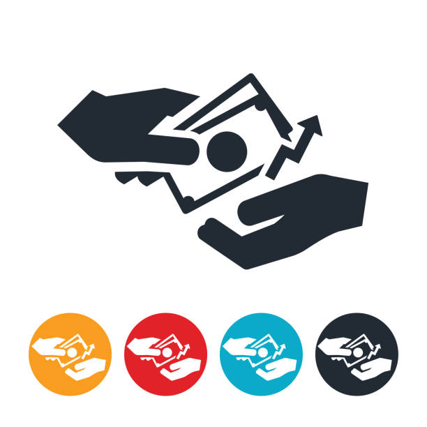 Rising Wages Icon An icon of a hand paying wages with an arrow point upwards to indicate raising of wages. minimum wage stock illustrations