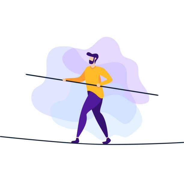 로프 플랫 배너에 위험 및 위험 도전 남자 - 균형 stock illustrations
