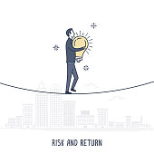 Abstract and symbolic presentation. Risk and Return. Businessman carrying light bulb on rope cityscape in the background. Outline vector illustration.
