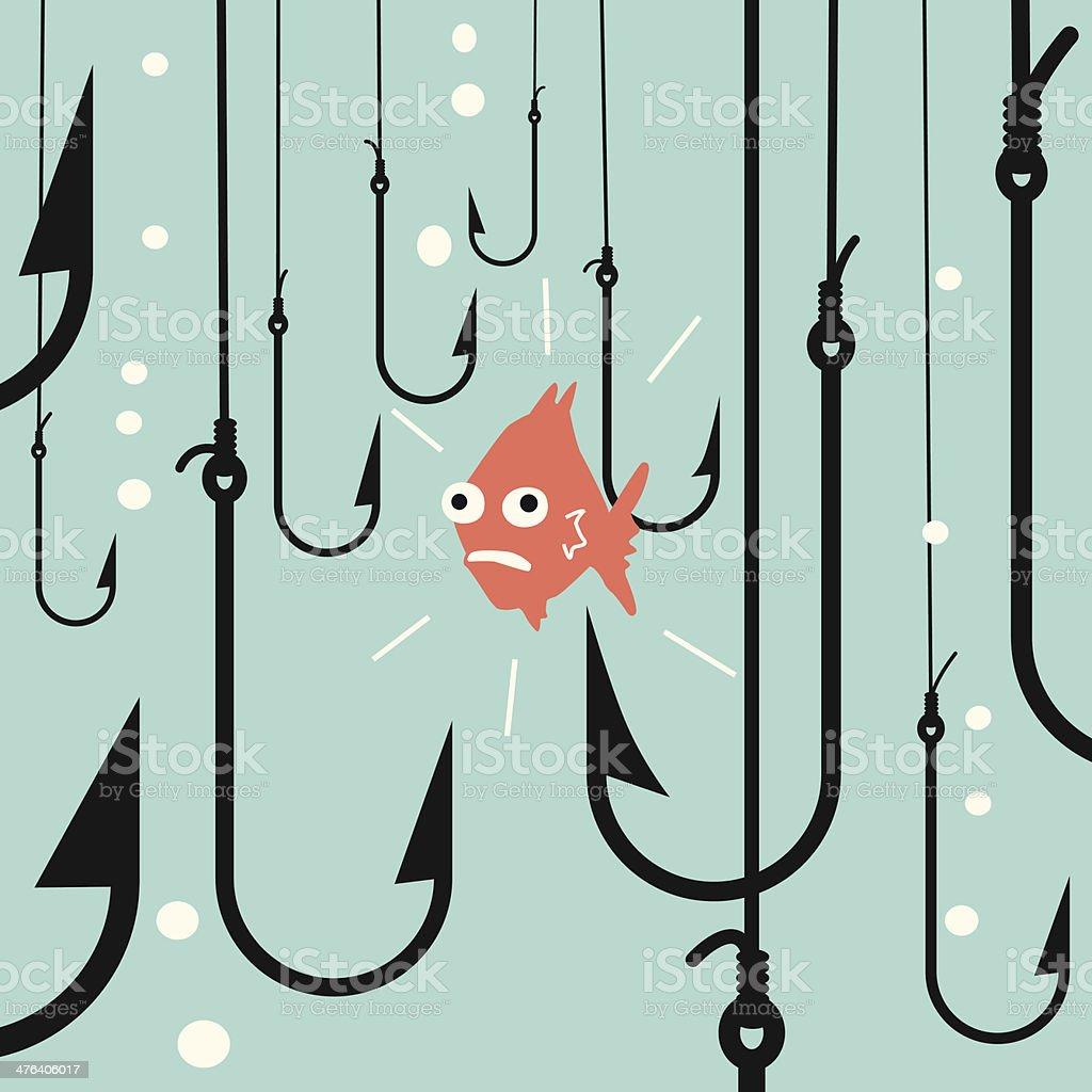 Risk fish vector art illustration