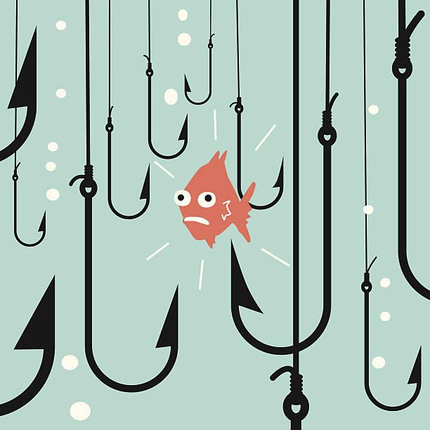 risiko fisch - angelhaken stock-grafiken, -clipart, -cartoons und -symbole