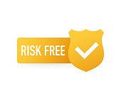 Risk-free guarantee label on white background. Vector stock illustration.