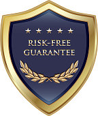 Risk-free guarantee luxury gold shield label with five stars and a laurel wreath.