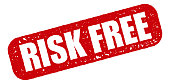 Risk Free Red Rubber Stamp Icon on Transparent Background