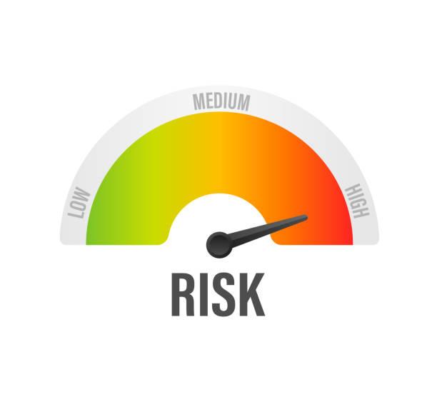 ilustrações, clipart, desenhos animados e ícones de ícone do risco no velocímetro. medidor de alto risco. ilustração do vetor. - alto descrição geral