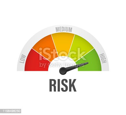 istock Risk icon on speedometer. High risk meter. Vector stock illustration. 1158498250