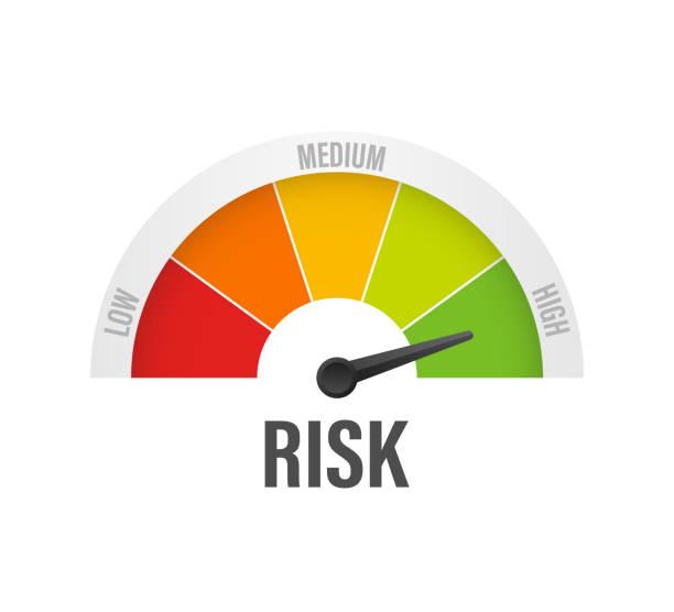 ilustrações, clipart, desenhos animados e ícones de ícone do risco no velocímetro. medidor de alto risco. ilustração do estoque do vetor. - alto descrição geral