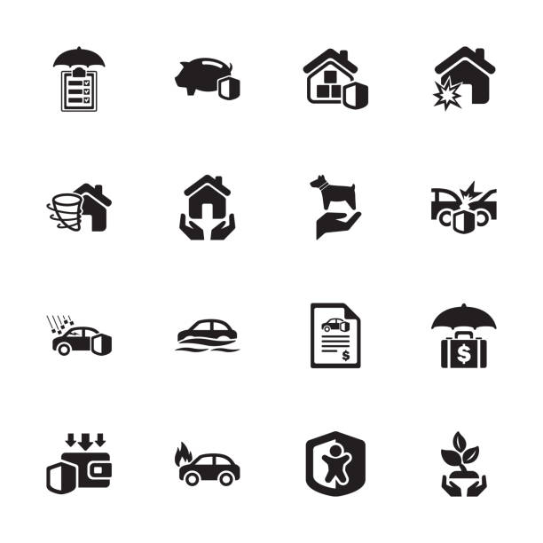 Risk & Insurance Icons - Set 1 Protection - Risk & Insurance Icons - Set 1 hailstorm stock illustrations