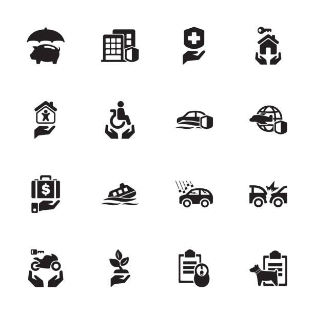illustrazioni stock, clip art, cartoni animati e icone di tendenza di risk & insurance icons - set 4 - grandine vector