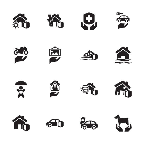 Risk & Insurance Icons - Set 5 Protection - Risk & Insurance Icons - Set 5 vandalism stock illustrations